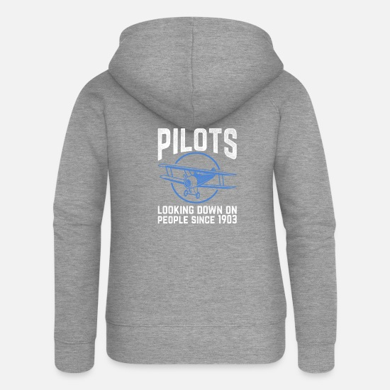 Pilot Pullover & Hoodies - Funny Pilot Design Quote Looking Down On People Si - Frauen Premium Kapuzenjacke Grau meliert