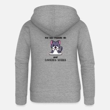 Two Passions Cats and series watch - Women's Premium Zip Hoodie