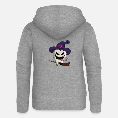 Tongue Horror Scary Tooth - Women's Premium Zip Hoodie