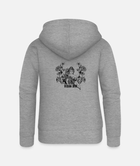 Animal Welfare Hoodies & Sweatshirts - Vegan Diva - lady with flowers - Women's Premium Zip Hoodie heather grey