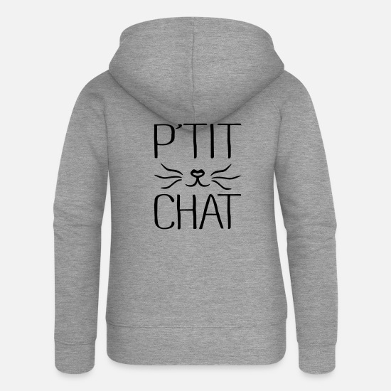 Chat Sweat-shirts - P'tit Chat - Veste à capuche premium Femme gris chiné