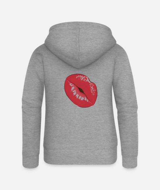 Eyelashes Hoodies & Sweatshirts - Kiss kiss - Women's Premium Zip Hoodie heather grey
