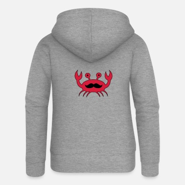 Crab Crab with mustache - Women's Premium Zip Hoodie