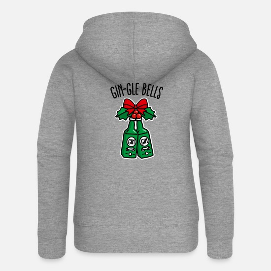 Moches De Noël Sweat-shirts - Gin-gle cloches jingle bells drôle gin noël - Veste à capuche premium Femme gris chiné