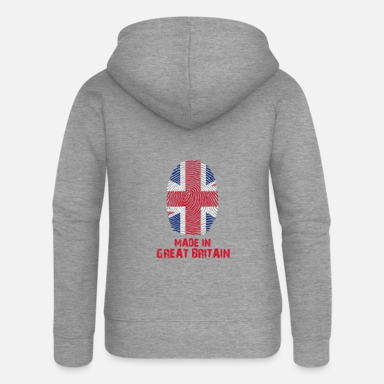 Britain Hoodies & Sweatshirts - Great Britain flag - Made in Great Britain Gesc - Women's Premium Zip Hoodie heather grey