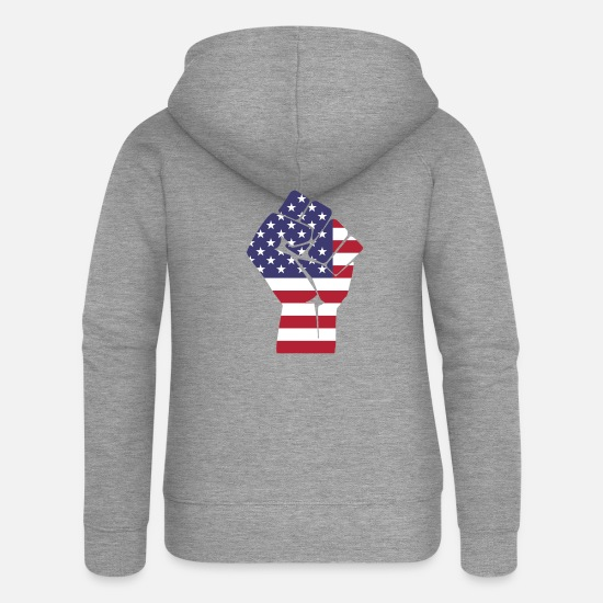 Established Pullover & Hoodies - Amerika - Frauen Premium Kapuzenjacke Grau meliert