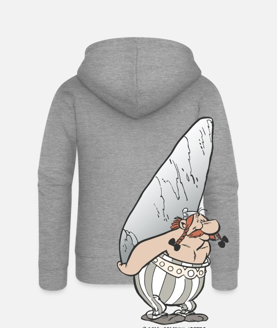 Animal Hoodies & Sweatshirts - Asterix & Obelix - Obelix with stone - Women's Premium Zip Hoodie heather grey