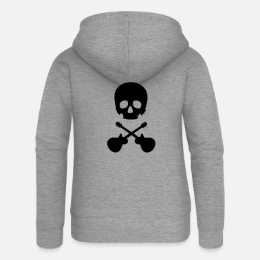 Scull Scull with guitars - Felpa con zip premium donna