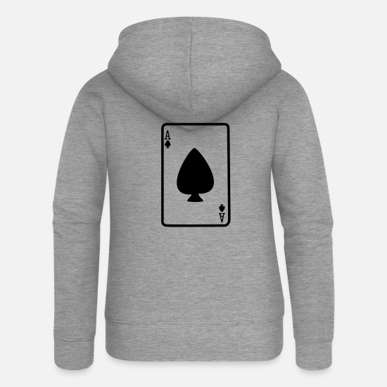 Ace Hoodies & Sweatshirts - Ace of Spades - Women's Premium Zip Hoodie heather grey