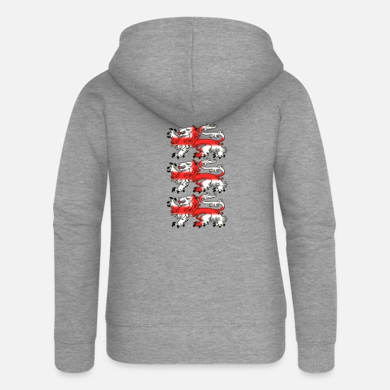 St Hoodies & Sweatshirts - Three English Lion Passants with St George's Cross - Women's Premium Zip Hoodie heather grey