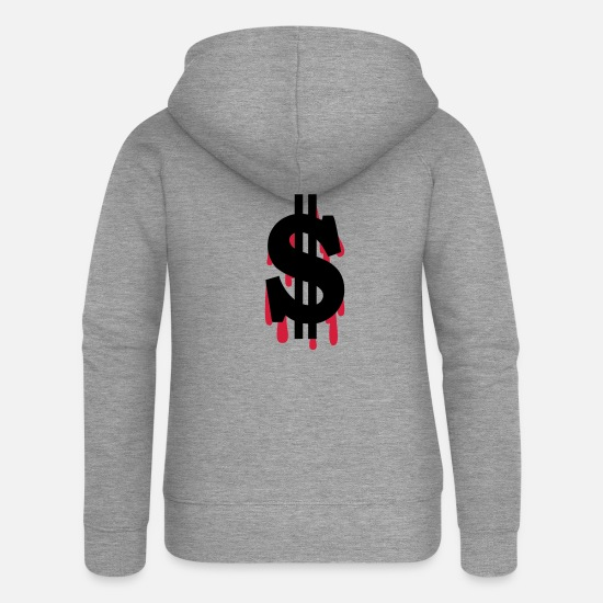Dollar Hoodies & Sweatshirts - dollar - Women's Premium Zip Hoodie heather grey