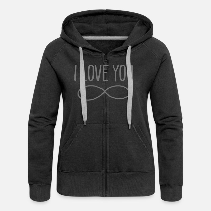 Heart Hoodies & Sweatshirts - I Love You (Forever Symbol) - Women's Premium Zip Hoodie black