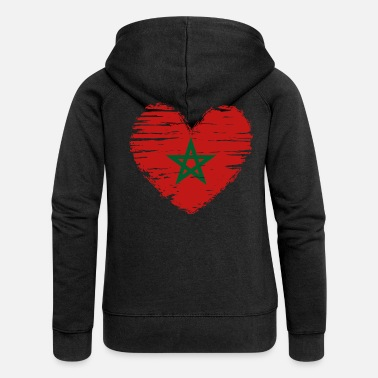 Morocco heart flag flag coat - Women's Premium Zip Hoodie