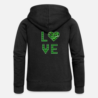 Ordinateur Love Heart Digital Love pour nerds ou pixel geek - Veste à capuche premium Femme