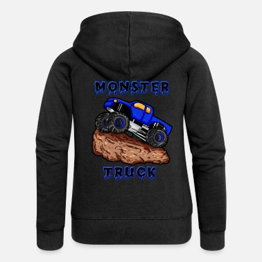 Monster Truck Monster truck car blue son boy monster truck - Women's Premium Zip Hoodie