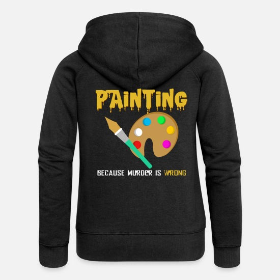Painter Hoodies & Sweatshirts - painting - Women's Premium Zip Hoodie black
