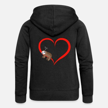 Sloth Sleeps Red Heart Valentine's Day Gift - Women's Premium Zip Hoodie