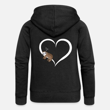 Sloth sleeps white heart valentine gift - Women's Premium Zip Hoodie