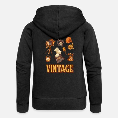 70s Vintage devices from the 60s and 70s - Women's Premium Zip Hoodie