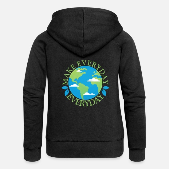 Gift Idea Hoodies & Sweatshirts - Earthday Earth and Conservation - Women's Premium Zip Hoodie black