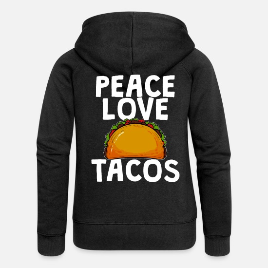 Mexican Hoodies & Sweatshirts - tacos - Women's Premium Zip Hoodie black