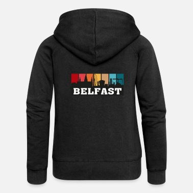 City Belfast Northern Ireland Travel Souvenir Skyline - Women's Premium Zip Hoodie