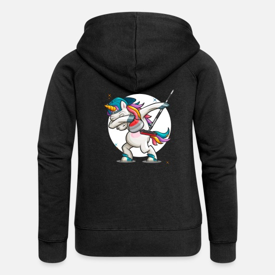 Birthday Hoodies & Sweatshirts - Dab Curling Unicorn Curling Ice Sports Gift - Women's Premium Zip Hoodie black