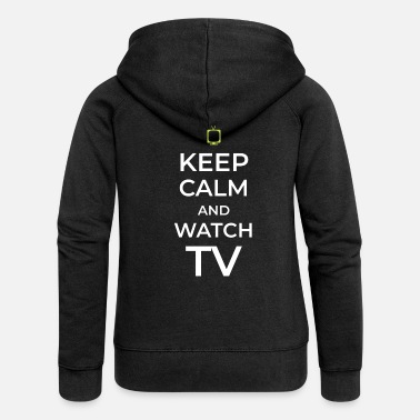 Tv TV TV TV watching TV - Women's Premium Zip Hoodie
