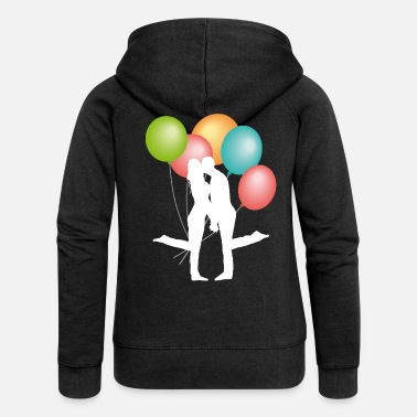 Affeto wedding couple kissing with balloons - Women's Premium Zip Hoodie