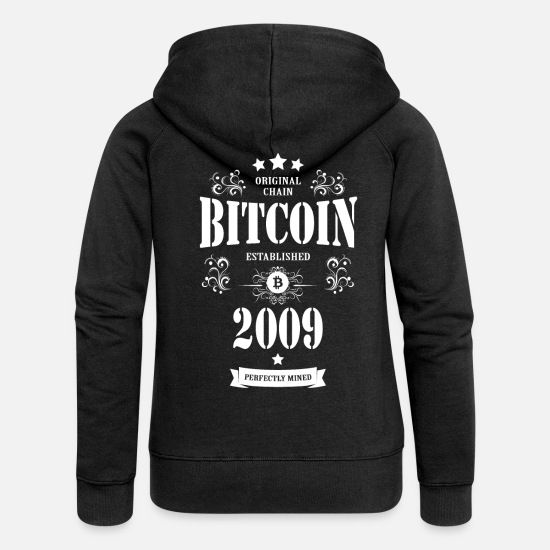 Geek Hoodies & Sweatshirts - Bitcoin Established 2009 - Women's Premium Zip Hoodie black