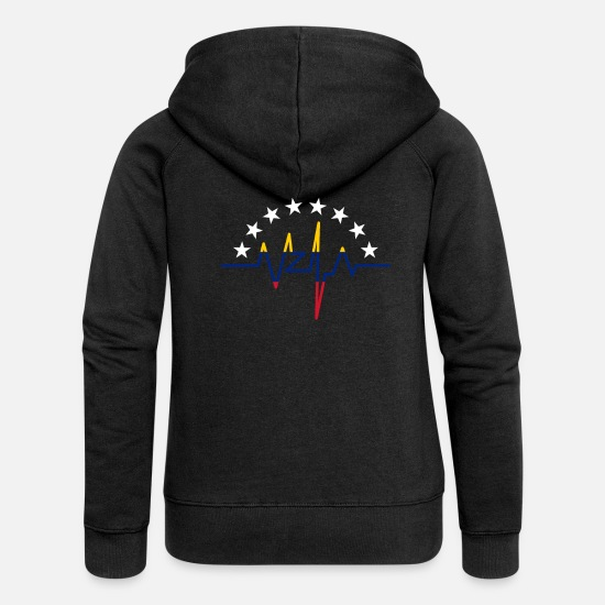 South America Hoodies & Sweatshirts - Venezuela Heartbeat - Women's Premium Zip Hoodie black
