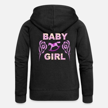 Baby girl roses and rocking horse gift design - Women's Premium Zip Hoodie