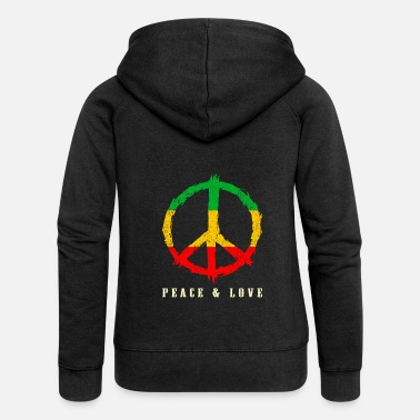 Rasta REGGAE, PEACE AND LOVE - Women's Premium Zip Hoodie