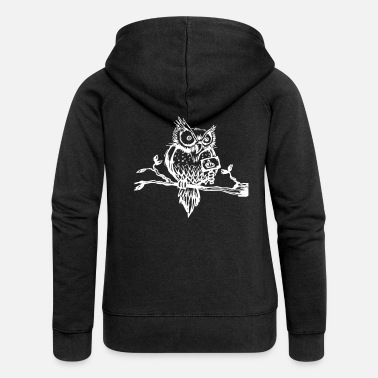Bad Bad-tempered owl shows middle finger - Women's Premium Zip Hoodie