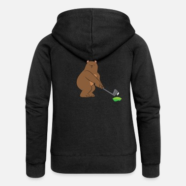 Caddy Golf - brown bear / grizzly with golf club - Women's Premium Zip Hoodie