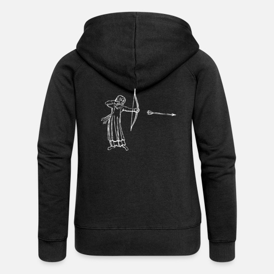 Arrow And Bow Hoodies & Sweatshirts - archer - Women's Premium Zip Hoodie black