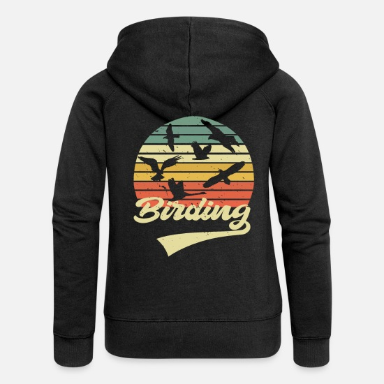 Bird Watching Hoodies & Sweatshirts - Birdwatching Birding Bird Watching Ornithologist - Women's Premium Zip Hoodie black
