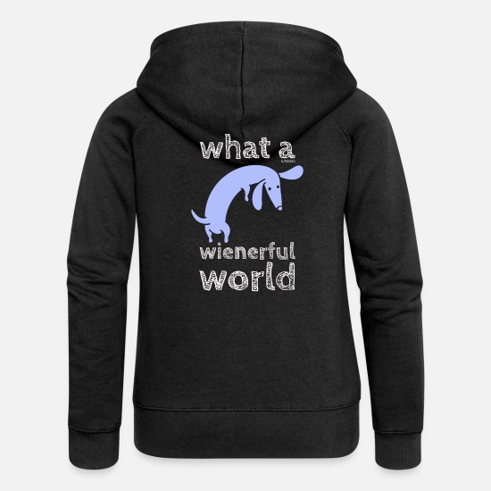Dachshund Hoodies & Sweatshirts - What a Wienerful - Women's Premium Zip Hoodie black