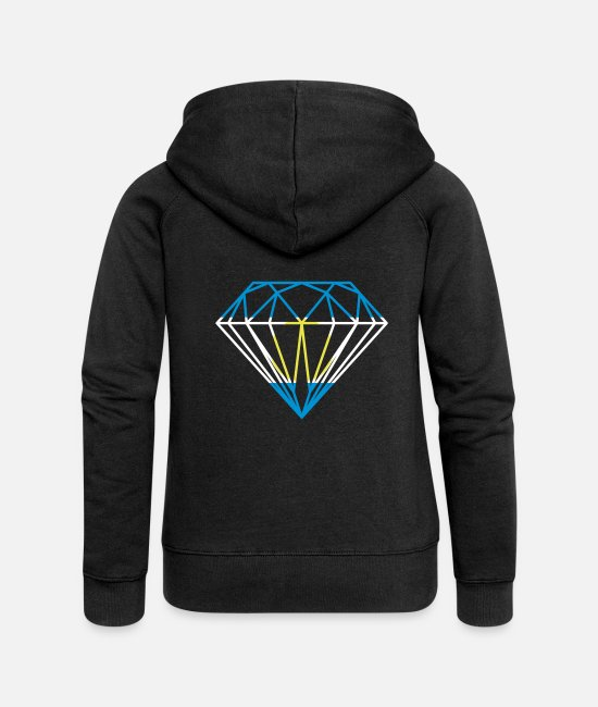 Brilliant Hoodies & Sweatshirts - Argentine Diamond - Women's Premium Zip Hoodie black