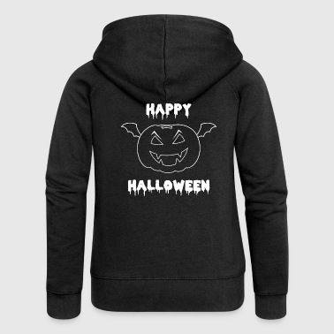 Happy Halloween pumpkin with bat wings - Women's Premium Hooded Jacket