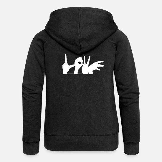 Love Hoodies & Sweatshirts - Love hand sign love gift - Women's Premium Zip Hoodie black