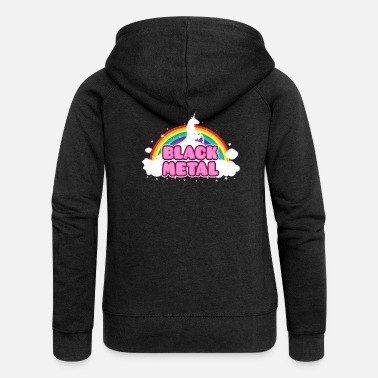 Divertente BLACK METAL - Funny / Unicorn - Rainbow - parodie - Felpa con zip premium donna