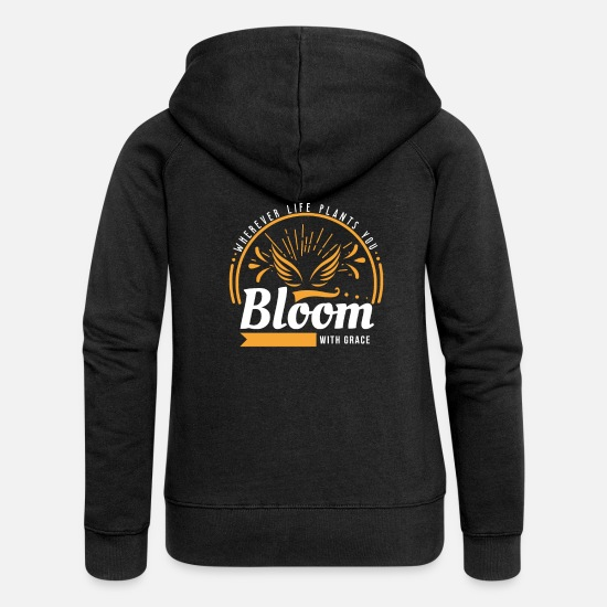 Gift Idea Hoodies & Sweatshirts - BLOOM - Women's Premium Zip Hoodie black
