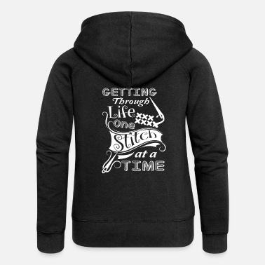 Stitch On Cross Stitch Funny Cross Stitch - Women's Premium Zip Hoodie