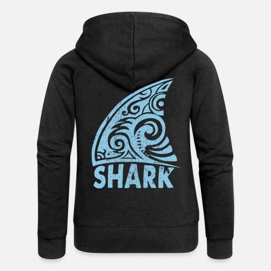 Shark Hoodies & Sweatshirts - Shark fin - shark sea animal - Women's Premium Zip Hoodie black