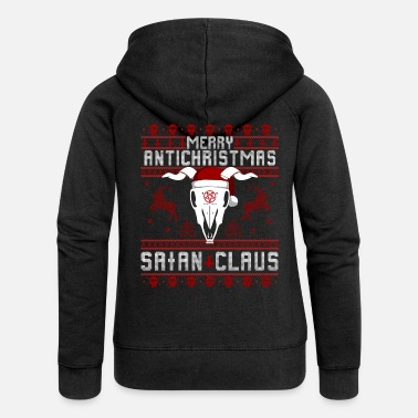 Antichrist Merry Antichristmas - Satan Claus Ugly Sweater - Women's Premium Hooded Jacket