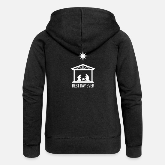 Jesus Hoodies & Sweatshirts - Best Day Ever Christmas Jesus Poinsettia - Women's Premium Zip Hoodie black