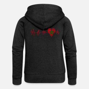 Morocco Morocco Morocco المغرب Heart pulse heart beat - Women's Premium Hooded Jacket