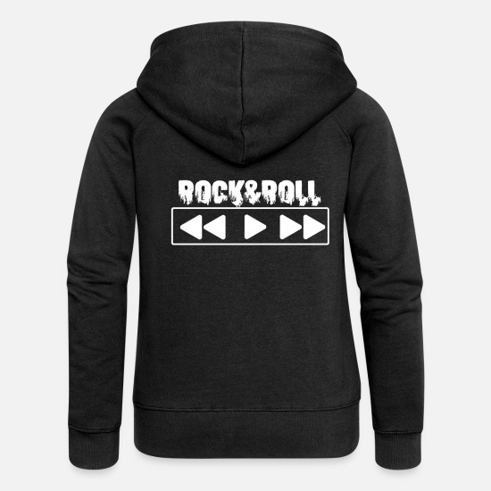 Rock And Roll Sweat-shirts - Rock and roll - Veste à capuche premium Femme noir