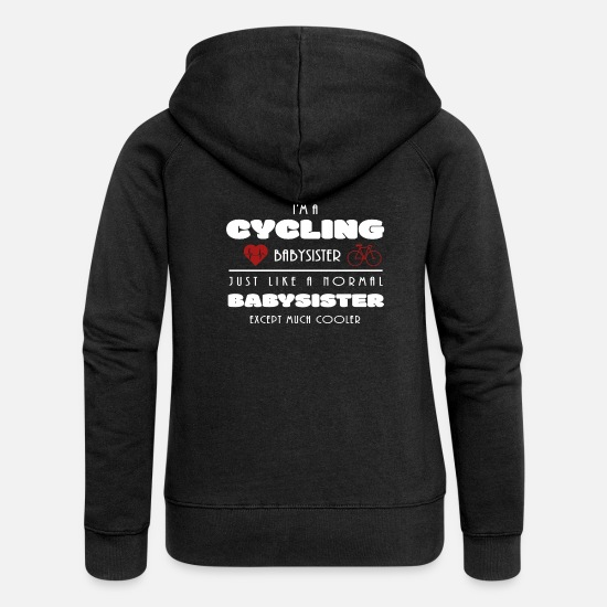 Cyclist Hoodies & Sweatshirts - Heartbeat bicycle babysitter gift cycling - Women's Premium Zip Hoodie black